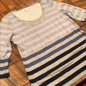 3/4 sleeve shirt women's sz large shirt stripe